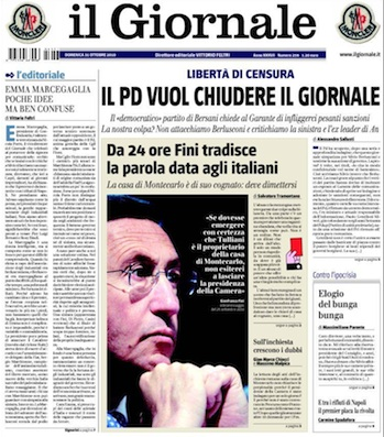 Primera de Il Giornale. Lunes, 9 de noviembre de 2010