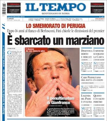 Primera de il Tempo. Lunes, 8 de noviembre de 2010.