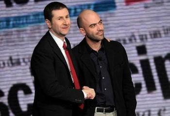 Fazio y Saviano, presentadores de Vieni via con me, en Rai 3