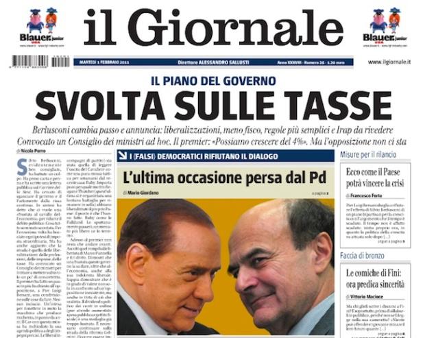 Portada Il giornale, 1 de febrero de 2011