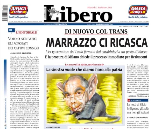Portada diario Libero, 1 de febrero de 2011