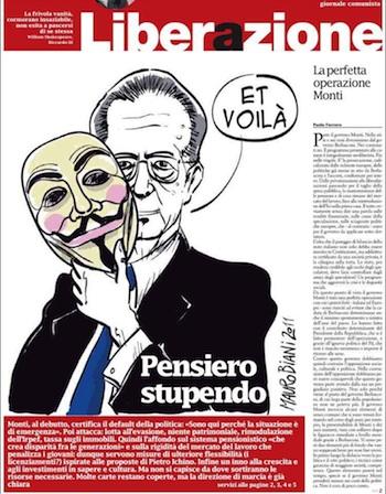 Portada diario Liberazione 18 nov. 2011